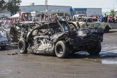Wrecked car after demolition derby Stock Photo