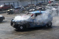Wrecked cars in action during the demolition derby Royalty Free Stock Photos