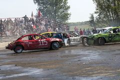 Wrecked cars in action during demolition derby Stock Images