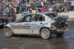 Wrecked cars at the end of the demolition derby Royalty Free Stock Photo