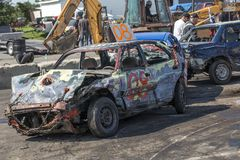 Wrecked cars at the end of the demolition derby Stock Photography