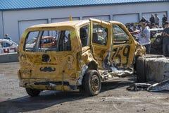 Wrecked truck after demolition derby. Napierville demolition derby, July 2, 2017 Stock Images