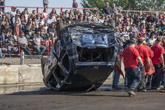 Wrecked truck on the top during the demolition derby Royalty Free Stock Photos