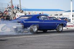 Vintage chevelle burnout on the track. Napierville dragway super tour, june 2017 Stock Photo