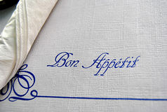 Napkin. In a restaurant with the words Bon apetit Stock Images