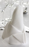 Napkin. White napkin on a decorated banquet table Stock Images
