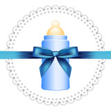 Napkin, baby bottle and bow Royalty Free Stock Images
