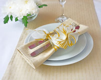 Napkin with bow Royalty Free Stock Photo