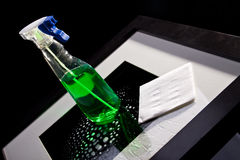 Napkin and cleaning agent Stock Photo