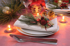 Napkin decorated for the Christmas. And New Year's table Royalty Free Stock Images