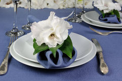 Napkin decorated with flower Stock Photos