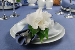 Napkin decorated with flower Royalty Free Stock Photography