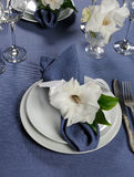 Napkin decorated with flower Royalty Free Stock Image