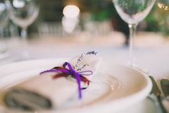 Napkin decorated for a wedding. With a lavender Royalty Free Stock Photography
