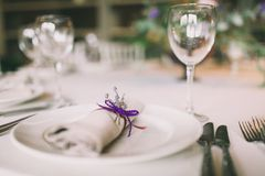Napkin decorated for a wedding. With a lavender Stock Images