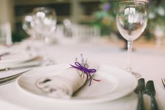 Napkin decorated for a wedding. With a lavender Royalty Free Stock Images