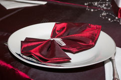 Napkin decorated for a wedding Royalty Free Stock Image