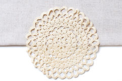 Napkin at the edge of a tablecloth Stock Photos