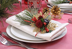 Napkin on a festive table Stock Images