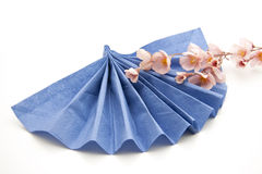 Napkin with flower branch Stock Photos