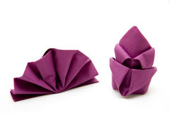 Napkin folded. Paper napkin monochrome and folded Stock Photos