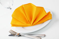 Napkin folded as fan Stock Image