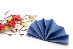 Napkin folded with rose Stock Photo