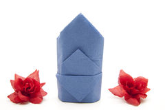 Napkin folded with rose Stock Image