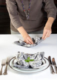 Napkin folding Stock Photo