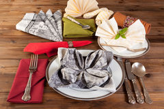 Napkin folding is an art Royalty Free Stock Images
