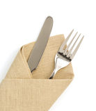 Napkin, fork and knife isolated on white Royalty Free Stock Photo