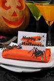 Napkin Halloween. How to lay out and decorate decorative napkin on Halloween Stock Photography