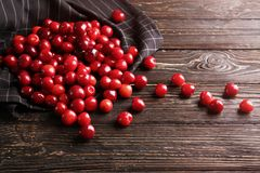 Napkin with heap of cherries Royalty Free Stock Images