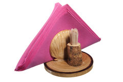 Napkin holder and wooden toothpicks. On white background Stock Photography