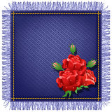 Napkin from jeans fabric and red roses Stock Photos
