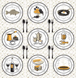 Napkin and nine meals Royalty Free Stock Photos