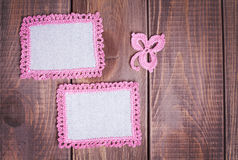 Napkin with pink lace Stock Photos