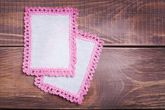 Napkin with pink lace Stock Photo