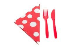 Napkin with plastic cutlery Stock Photos