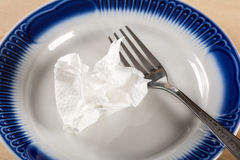 Napkin on plate Royalty Free Stock Photography