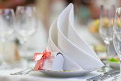 Napkin on a plate royalty free stock photos