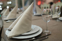 Napkin on a plate. In the empty restaurant Royalty Free Stock Image