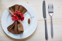 Napkin on plate Stock Image