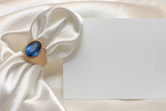 Napkin ring, napkin and card Stock Photography
