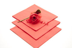 Napkin with rose Royalty Free Stock Image