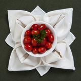 Napkin rose with tomatoes Stock Image