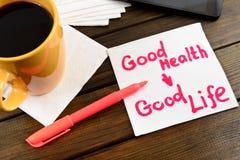 Napkin sketch Good health long life. Napkin sketch Good health good life on caffe napkin stock photography