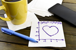 Napkin sketch mathematical formula of love. On caffe napkin Royalty Free Stock Images