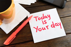 Napkin sketch today is your day Stock Photo