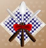 Napkin, spoon, knife and fork Royalty Free Stock Images